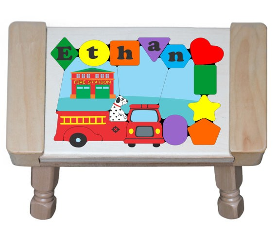 Personalized Name Fire Truck Theme Puzzle Stool - (FREE SHIPPING)
