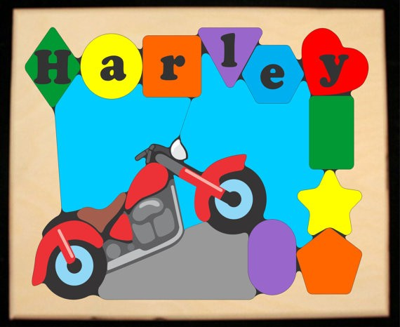 Personalized Name Motorcycle Bike Theme Puzzle (FREE SHIPPING)