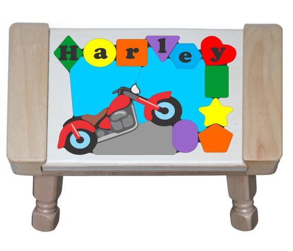Personalized Name Motorcycle Bike Theme Puzzle Stool (FREE SHIPPING)