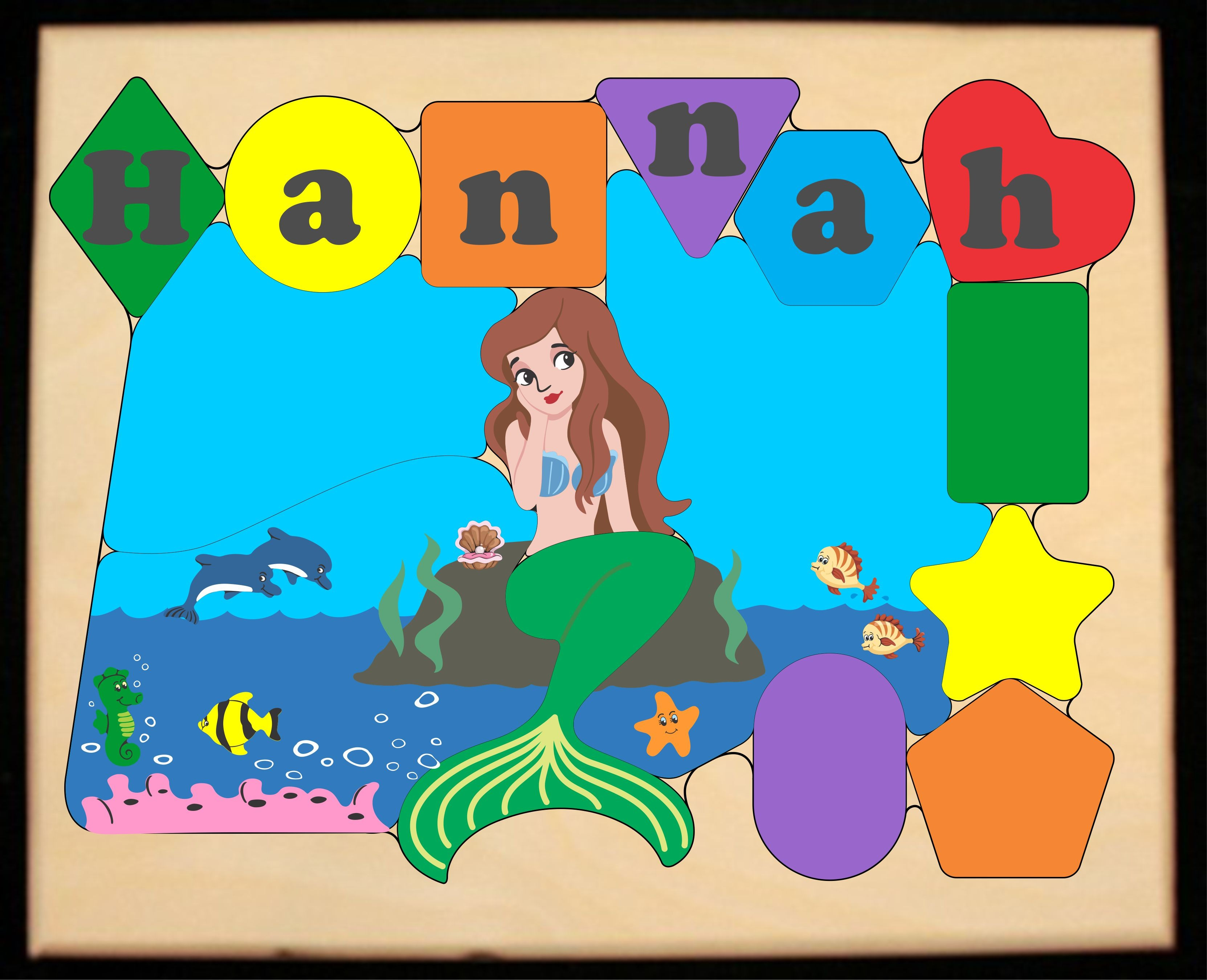 Personalized Name Mermaid Theme Puzzle - Primary (FREE SHIPPING)