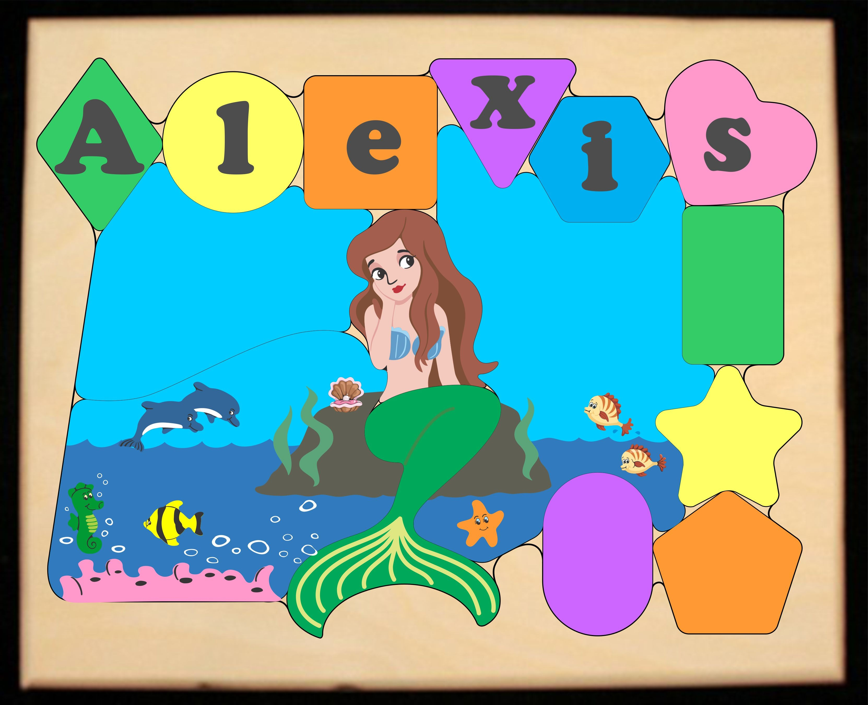 ** New 2019 ** Personalized Name Mermaid Theme Puzzle - Pastel (FREE SHIPPING)