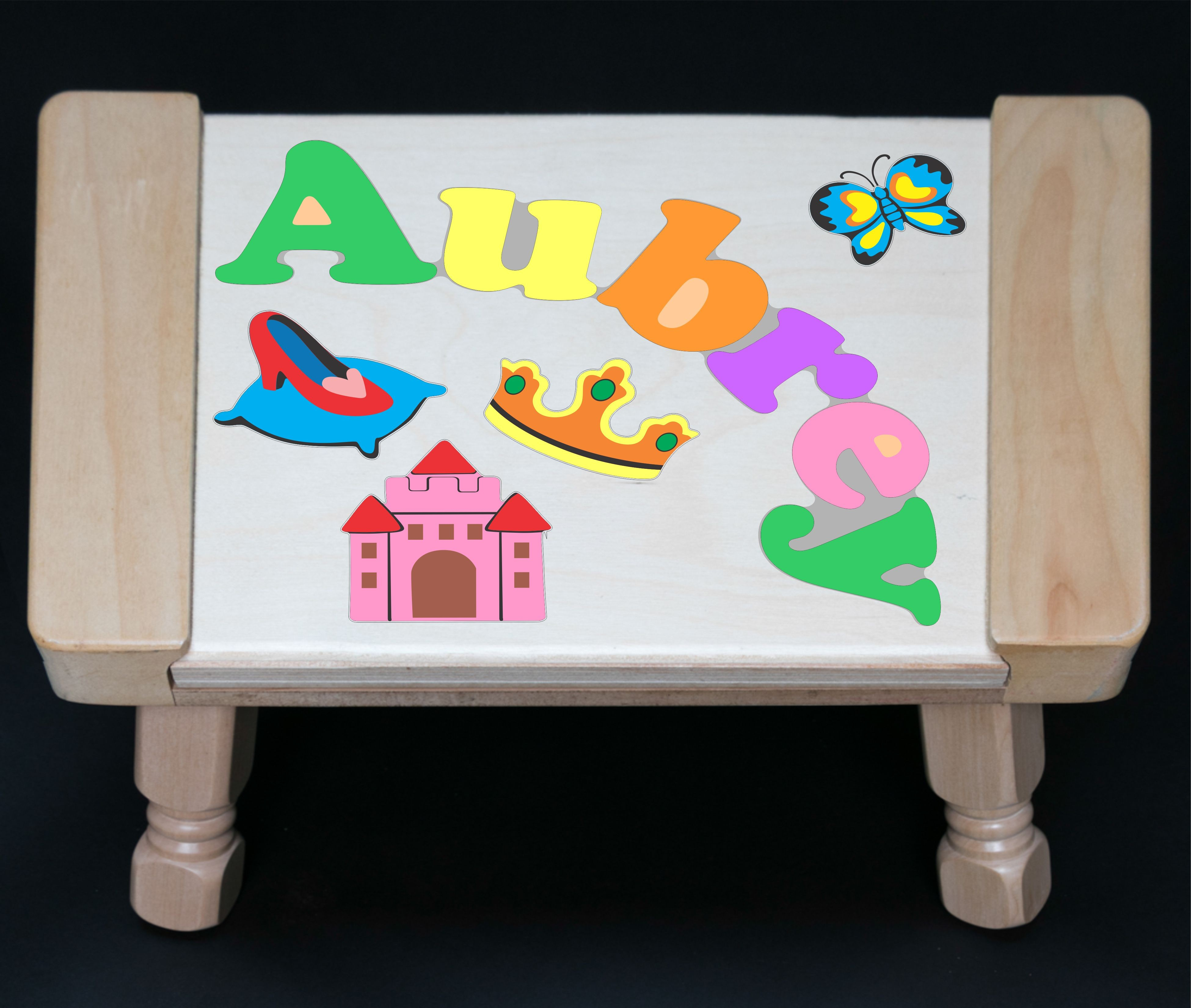 Custom Name(s) Princess Theme Puzzle Stool in upper and lower case letters - Primary or Pastel (FREE SHIPPING)