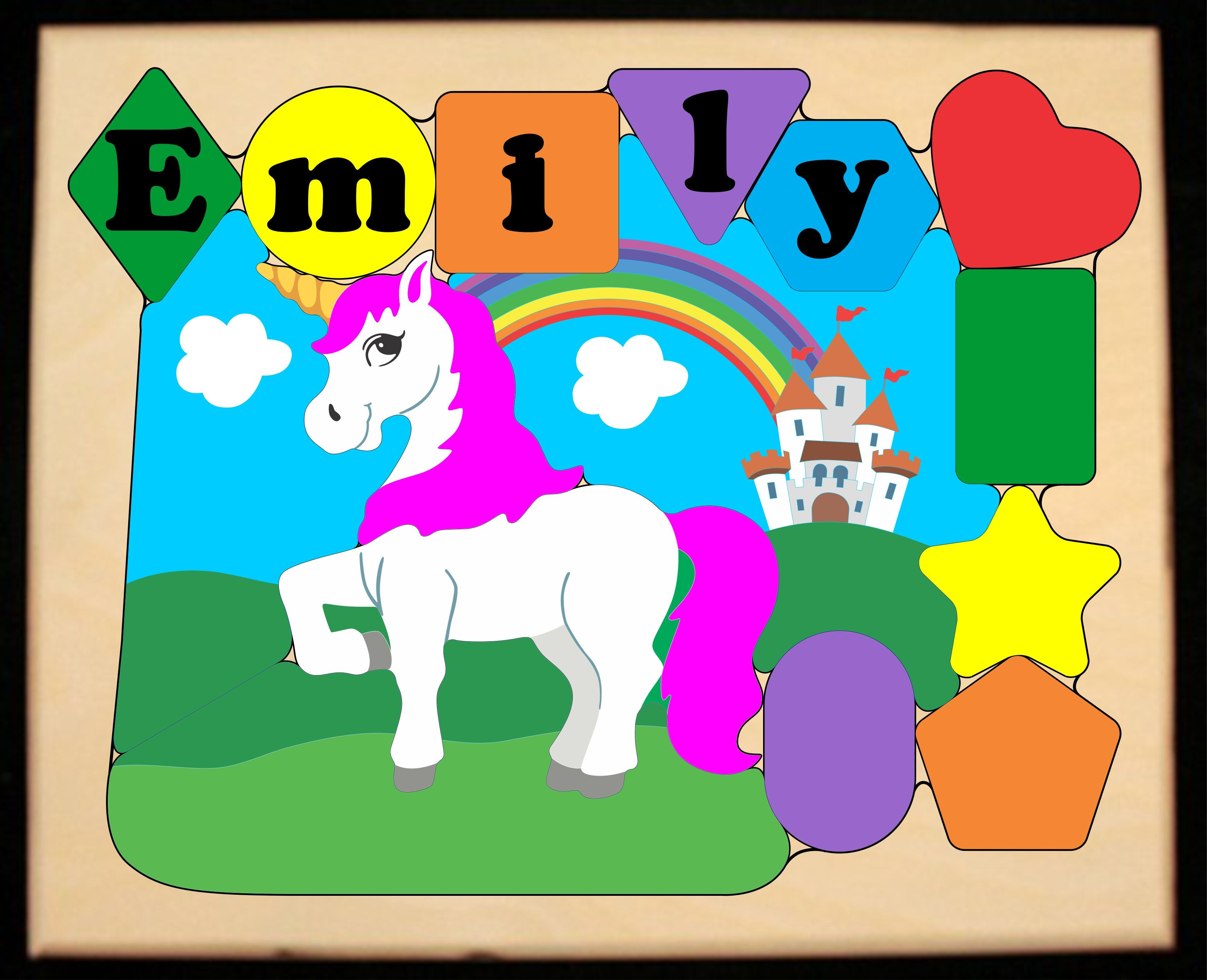 ** New 2019 ** Personalized Name Unicorn Theme Puzzle - Primary (FREE SHIPPING)
