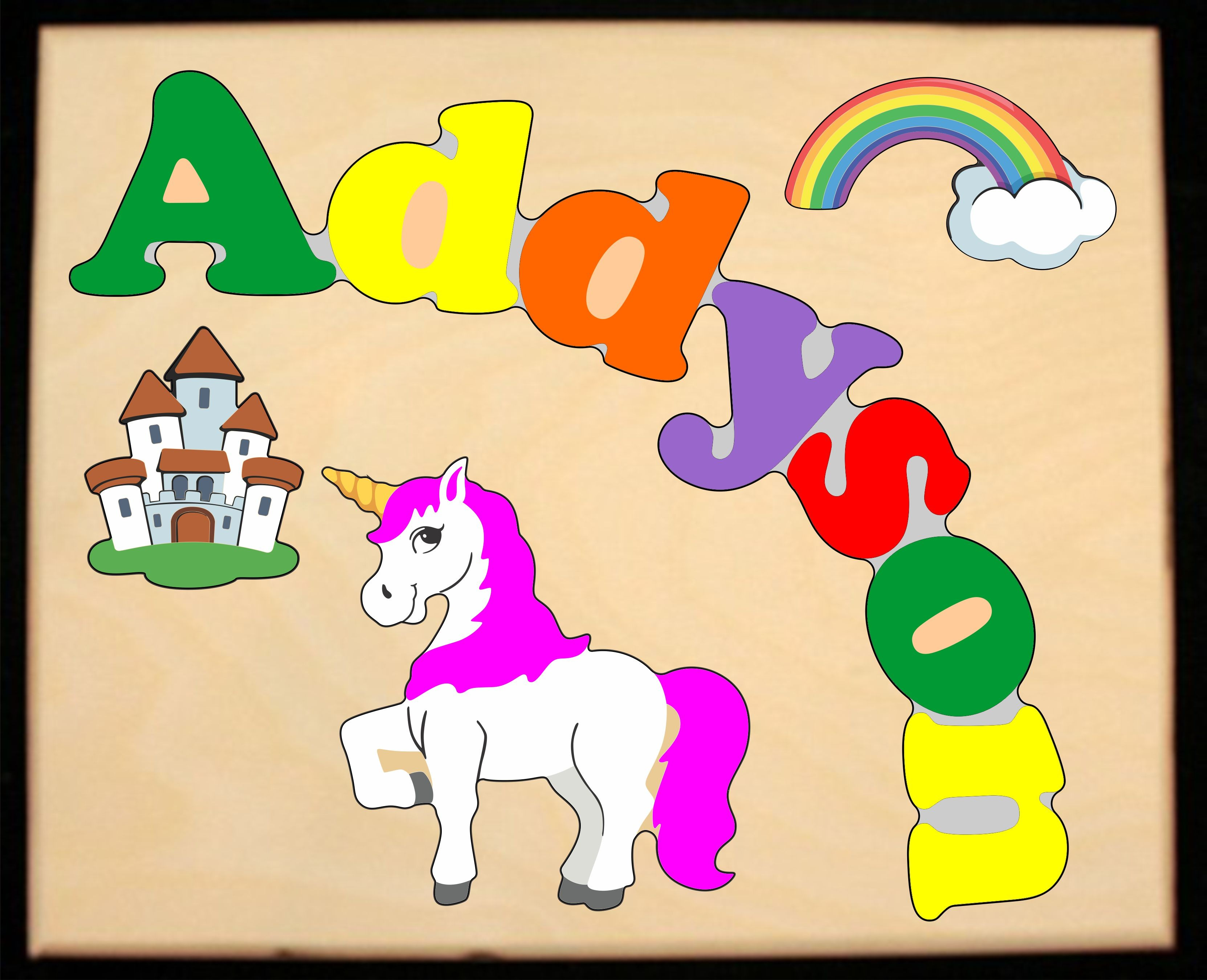 ** New 2019 ** Custom Name(s) Unicorn Theme Puzzle in upper and lower case letters - Primary or Pastel (FREE SHIPPING)