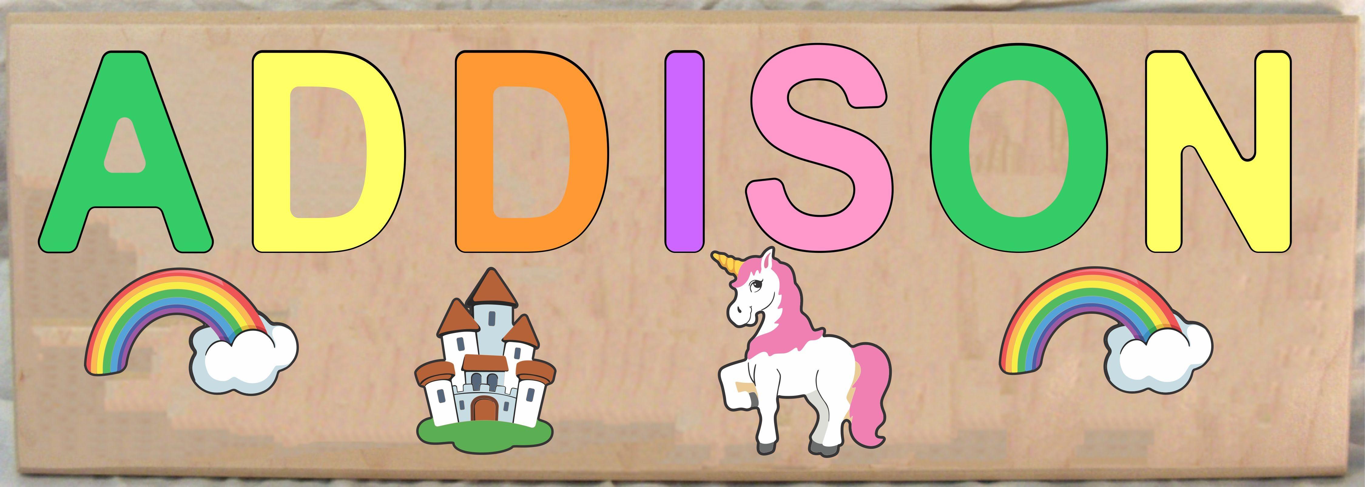 Long Custom Name Unicorn Theme Puzzle