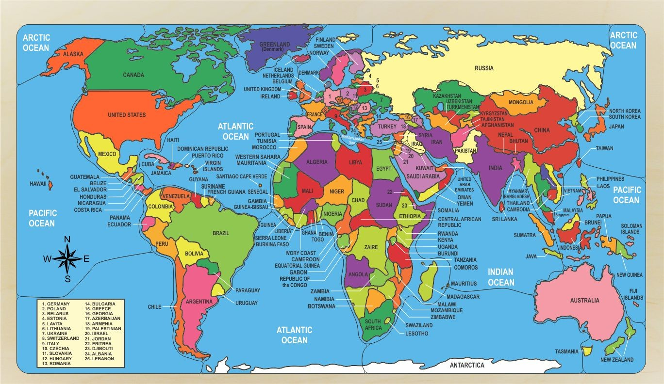World Map Puzzle Naming Countries