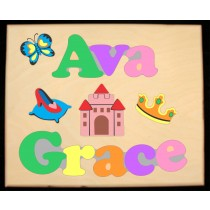 Custom 2 Name Princess Theme Puzzle in upper and lower case letters - Primary or Pastel, (FREE SHIPPING)