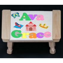 Custom 2 Name Princess Theme Puzzle Stool in upper and lower case letters - Primary or Pastel - (FREE SHIPPING)