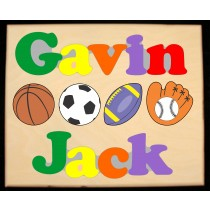 Custom 2 Name Sports Theme Puzzle in upper and lower case letters - Primary or Pastel, (FREE SHIPPING)