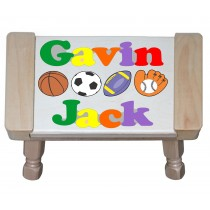 Custom 2 Name Sports Theme Puzzle Stool in upper and lower case letters - Primary or Pastel (FREE SHIPPING)