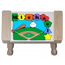 Personalized Name Baseball Theme Puzzle Stool - (FREE SHIPPING)
