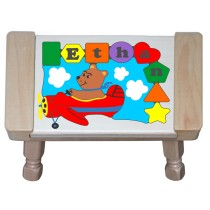 Personalized Name Bear Plane Theme Puzzle Stool - (FREE SHIPPING)