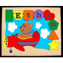 Personalized Name Bear Plane Theme Puzzle - (FREE SHIPPING)