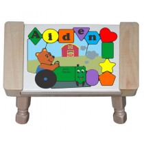 Personalized Name Tractor Bear Theme Puzzle Stool (FREE SHIPPING)
