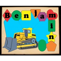 ** NEW 2018 **Personalized Name Construction Bulldozer Theme Puzzle (FREE SHIPPING)