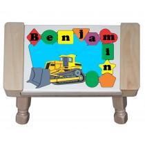 Personalized Name Construction Bulldozer Theme Puzzle Stool (FREE SHIPPING)