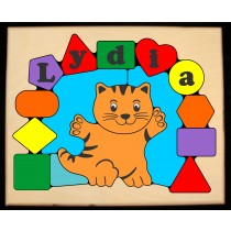 Personalized Name Cat Theme Puzzle - Primary (FREE SHIPPING)