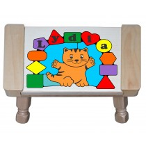 Personalized Name Cat Shape Puzzle Stool - Primary (FREE SHIPPING)