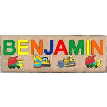 LONG CUSTOM NAME CONSTRUCTION THEME PUZZLE - PRIMARY OR PASTEL, (FREE SHIPPING)