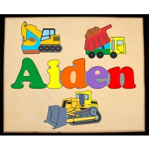 ** NEW 2019 ** Custom Name Construction Theme Puzzle in upper and lower case letters - Primary or Pastel  (FREE SHIPPING)