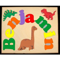 Custom Name(s) Dinosaur Animals Theme Puzzle in upper and lower case letters - Primary or Pastel, (FREE SHIPPING)