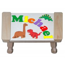 Custom Name(s) Dinosaur Animals Theme Puzzle Stool in upper and lower case letters - Primary or Pastel (FREE SHIPPING)