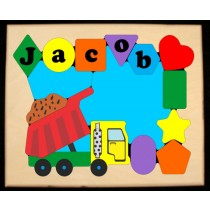 Personalized Name Dump Truck Theme Puzzle - (FREE SHIPPING)