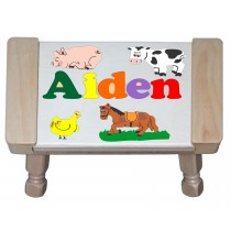 Custom Name(s) Farm Animals Theme Puzzle Stool in upper and lower case letters - Primary or Pastel (FREE SHIPPING)