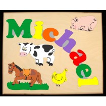** NEW 2018 ** Custom Name(s) Farm Animals Theme Puzzle in upper and lower case letters - Primary or Pastel, (FREE SHIPPING)