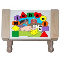 Personalized Name Farm Animals Theme Puzzle Stool - Primary - (FREE SHIPPING)