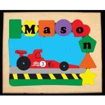 Personalized Name Indy Race Car Theme Puzzle - (FREE SHIPPING)