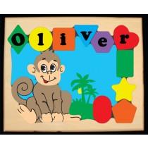 Personalized Name Monkey Theme Puzzle - (FREE SHIPPING)