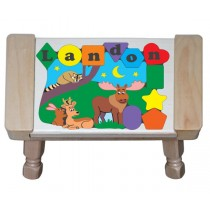 Personalized Name North Woods Forest Animals Theme Puzzle Stool - (FREE SHIPPING)