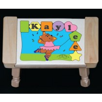 Personalized Name Ballerina Bear Theme Puzzle Stool - Pastel - (FREE SHIPPING)