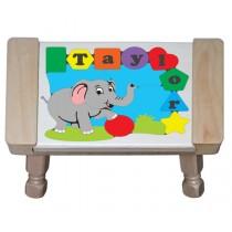 Personalized Name Elephant Theme Puzzle Stool - (FREE SHIPPING)