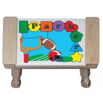 Personalized Name Football Theme Puzzle Stool - (FREE SHIPPING)