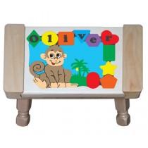 Personalized Name Monkey Theme Puzzle Stool - (FREE SHIPPING)