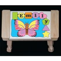 Personalized Name Butterfly Theme Puzzle Stool - Pastel (FREE SHIPPING)