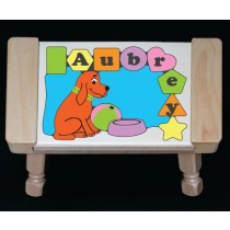 Personalized Name Dog Theme Puzzle Stool Pastel (FREE SHIPPING)