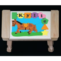 Personalized Name Horse Theme Puzzle Stool - Pastel - (FREE SHIPPING)