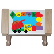 Personalized Name Dump Truck Theme Puzzle Stool - (FREE SHIPPING)