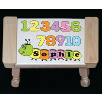 Personalized Name Number Worm Theme Puzzle Stool - Pastel - (FREE SHIPPING)