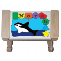 Personalized Name Orca Whale Theme Puzzle Stool - (FREE SHIPPING)