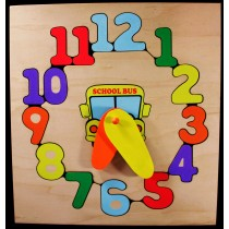Personalized Name School Bus Clock Theme Puzzle - (FREE SHIPPING)