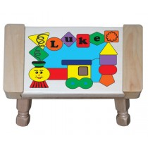 Personalized Name Train Shapes Theme Puzzle Stool - (FREE SHIPPING)