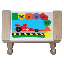 Personalized Name Indy Race Car Theme Puzzle Stool - (FREE SHIPPING)