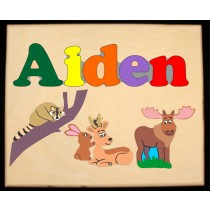 Custom Name(s) Forest Animals Theme Puzzle in upper and lower case letters - Primary or Pastel, (FREE SHIPPING)