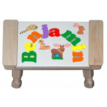 Custom Name(s) Forest Animals Theme Puzzle Stool in upper and lower case letters - Primary or Pastel (FREE SHIPPING)