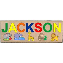 LONG CUSTOM NAME JUNGLE (ZOO) ANIMALS THEME PUZZLE - PRIMARY OR PASTEL, (FREE SHIPPING)