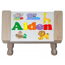 Custom Name(s) Jungle (Zoo) Animals Theme Puzzle Stool in upper and lower case letters - Primary or Pastel (FREE SHIPPING)
